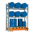 Metal storage shelves with spill pallet for 6 drums 200 lt horizontal and 3 drums 200 lt vertical