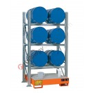 Metal storage shelves with spill pallet for 6 drums 200 lt horizontal 3 floors