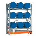 Metal storage shelves with spill pallet for 9 drums 200 lt horizontal 3 floors