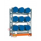 Metal storage shelves with spill pallet for 9 drums 60 lt horizontal 3 floors