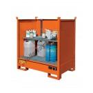 Spill tray in painted steel with walls 1350 x 860 x 1460 mm for small containers