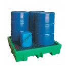 Drum spill pallet 260 liter in polyethylene with grid 1320 x 1320 x 270 mm for 4 drums