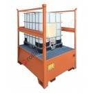 Stackable ibc pallet 1000 lt in painted steel with grid and open sides 1350 x 1660 x 1930 mm