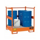 Stackable drum sump pallet in painted steel with grid and open sides 1350 x 1260 x 1430 mm for 4 drums