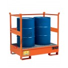 Stackable drum sump pallet in painted steel with grid and open sides 1350 x 860 x 1460 mm for 2 drums