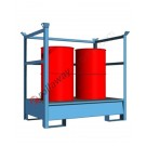 Stackable drum sump pallet 200 lt in painted steel with grid and open sides 1460 x 960 x 1400 mm for 2 drums