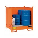 Stackable drum sump pallet in painted steel with grid and sheet sides 1350 x 1260 x 1430 mm for 4 drums