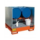 Drum sump pallet in painted steel with grid and removable splash guards 1340 x 1250 x 300 mm for 4 drums