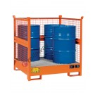 Stackable drum sump pallet in painted steel with grid and mesh sides 1350 x 1260 x 1430 mm for 4 drums