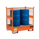 Stackable drum sump pallet in painted steel with grid and mesh sides 1350 x 860 x 1460 mm for 2 drums