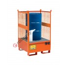 Stackable drum sump pallet in painted steel with grid and mesh sides 870 x 870 x 1460 mm for 1 drum